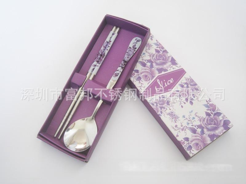 不锈钢勺筷两件套,葫芦柄勺筷两件套,贴花勺筷两件套