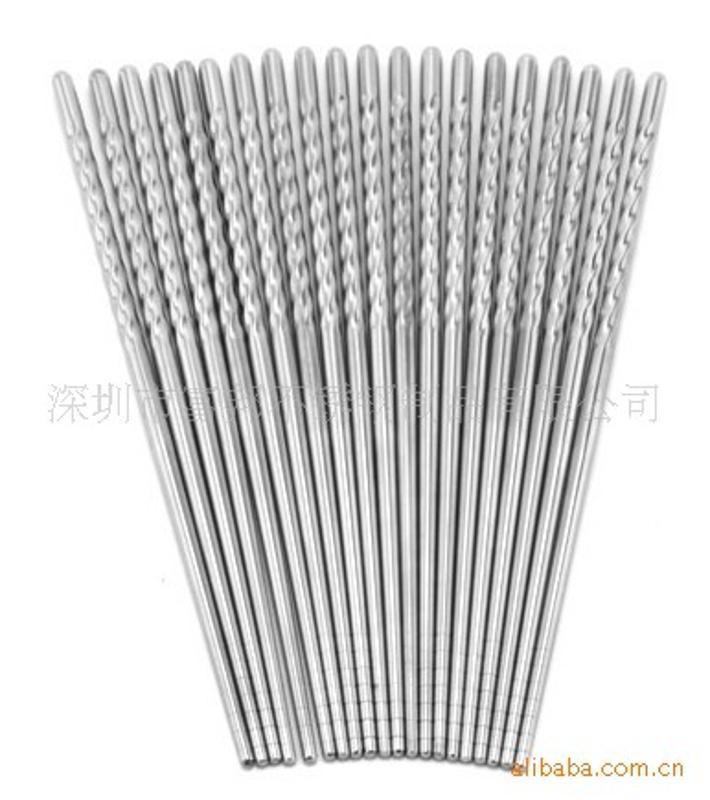 厂价直销高品质不锈钢麻花筷 中空筷 方头筷子