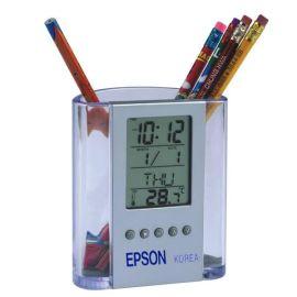 透明多功能笔筒万年历时钟 创意办公用品 电子万年历笔筒可印LOGO