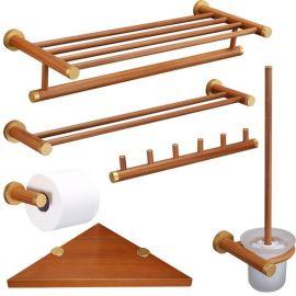 套装木质中式仿古工艺木质架毛巾架卫生间置物架浴巾架浴室卫浴木