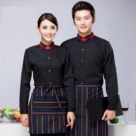 男西餐厅火锅店服务员秋冬新款快餐外卖餐厅女服务员长袖定做logo