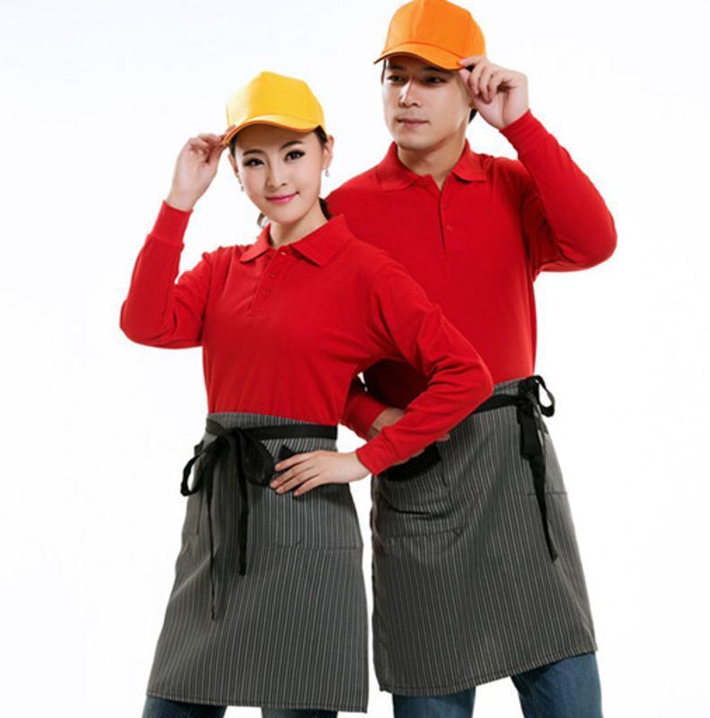 餐饮饭店快餐厅服务员长袖工作服外卖员制服火锅店翻领T恤衫工衣