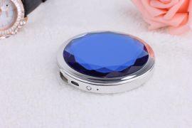 钻石圆镜子移动电源 便携式化妆镜子充电宝供应