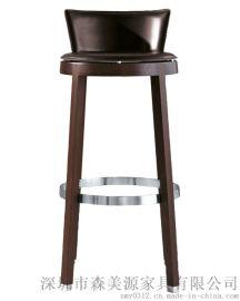 实木酒吧椅简约吧凳欧式靠背吧椅高脚凳前台椅子