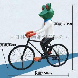 青蛙主题卡通玻璃钢雕塑