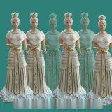 王母娘娘打扇女像 金童玉女1.2米 彩繪貼金玻璃鋼佛像