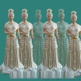 王母娘娘打扇女像 金童玉女1.2米 彩绘贴金玻璃钢佛像