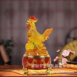 千艺坊富贵琉璃生肖鸡纪念品吉祥物摆件树脂工艺商务馈赠保险公司会销礼品定制