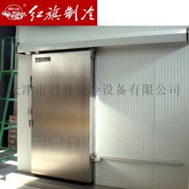 天津红旗冷库平移门 手动不锈钢冷库门 可选侧滑道