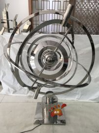 酒店大堂镜面不锈钢可旋转地球仪雕塑生产厂家定制