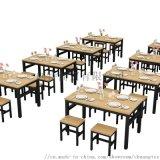 餐桌椅組合食堂麪館快餐桌椅桌子簡約家用復古餐椅定製