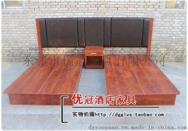 广州优冠快捷酒店家具床 公寓客房红实木床 工厂打样图