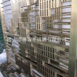 广州不锈钢屏风厂家专业定制仿古铜屏风,发黑复古花格 亚光黄古铜屏风