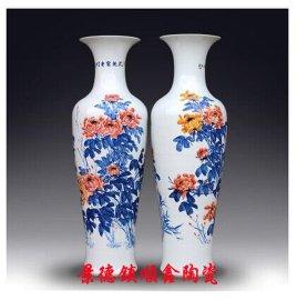 雕刻青花瓷花瓶,景德镇陶瓷花瓶
