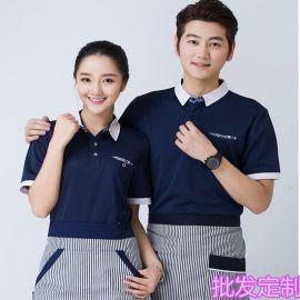 供应餐饮工作服夏装短袖服务员翻领T恤西式快餐咖啡厅寿司店工服