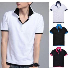莱卡针织棉纯色男式T恤韩版翻领修身短袖