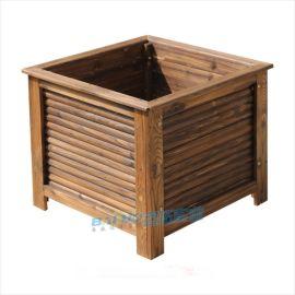 防腐木花箱实木碳化木花盆户外花箱正方形种树大花箱