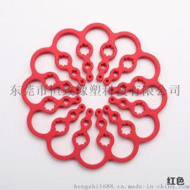 硅胶可伸展杯垫 硅胶梅花形折叠餐垫 耐高温锅垫