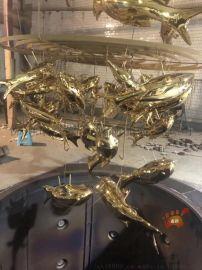 定制大型景观水池镜面不锈钢锦鲤鱼雕塑摆件