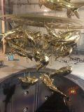 定製大型景觀水池鏡面不鏽鋼錦鯉魚雕塑擺件