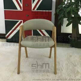 北欧实木餐椅 水曲柳休闲椅子批发 咖啡厅酒店西餐厅餐桌椅