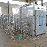 紅腸煙燻蒸煮爐,通道式1000公斤全自動蒸薰爐華鋼廠家,薰紅腸設備