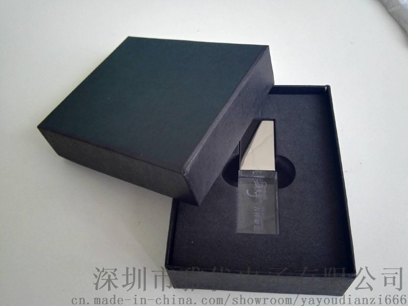 水晶u盘 刻字logo创意优盘 发光透明u盘