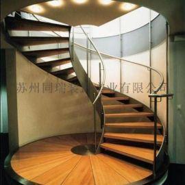 现代时尚的旋转钢木楼梯 厂家直销定制