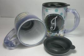 历山双层塑料杯 PS插纸广告杯 450ML星巴克马克杯 隔热杯