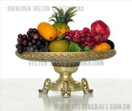 欧式家居装饰品摆件K1003透明树脂银玫瑰花水果盆摆设