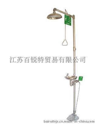 複合式 緊急衝淋洗眼器 304不鏽鋼腳踏式洗眼器 手動排空防凍型