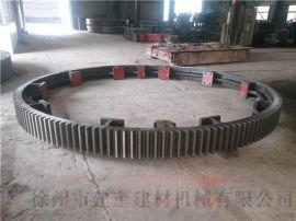 定制2.5x20米滚筒烘干机大齿轮分体式弹簧板结构