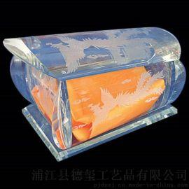 水晶玻璃骨灰盒棺材 水晶壽材