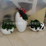 玻璃钢圆形组合花盆 白色球形玻璃钢花盆定制厂家