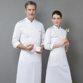 厨师服长袖白色制服厨房新款面点烘焙店工作服红边蓝边2019秋冬装