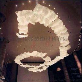 水晶菠萝珠飘带灯创意个性艺术展厅灯具酒店大堂展厅楼梯吊灯定制