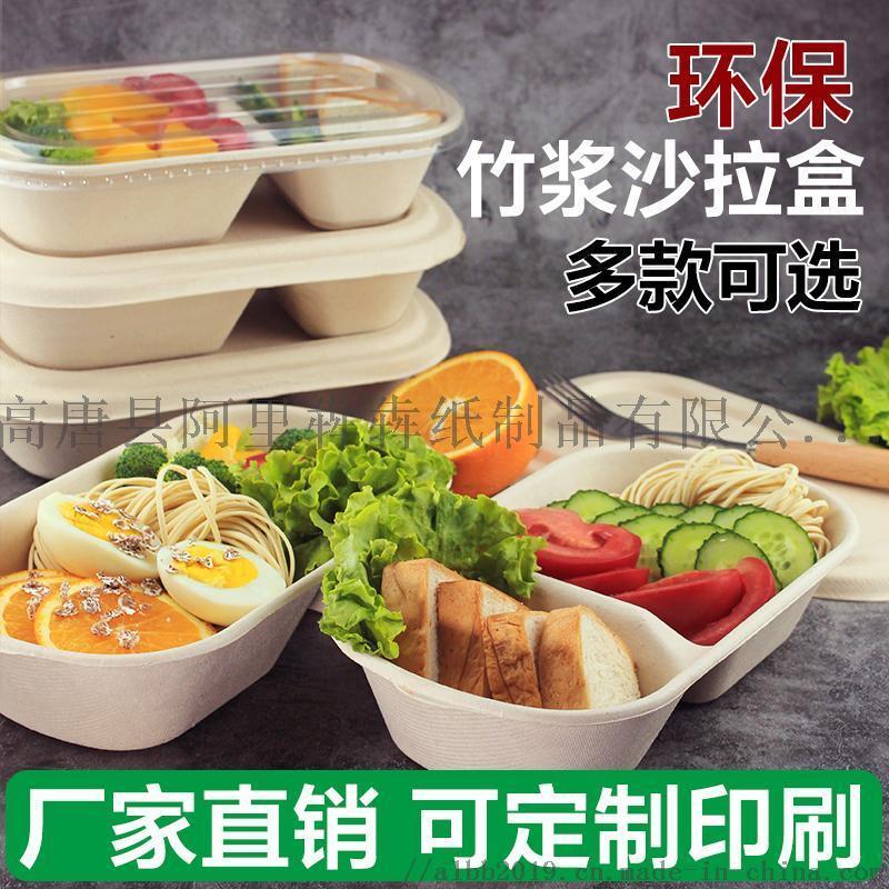 可降解環保食具一次性餐盒紙漿碗飯盒沙拉外賣打包盒