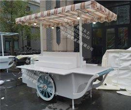 **防腐木售卖车 实木钢架售货亭 美食小吃车