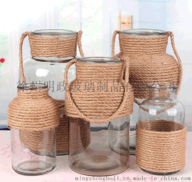 欧式创意玻璃花瓶手工麻绳透明花器干花插花客厅卧室台面装饰摆件