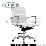 电脑椅子办公椅家用转椅升降皮椅办公室职员椅白色西皮
