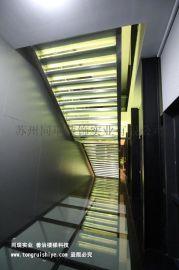 时尚发光的双钢板玻璃楼梯