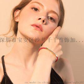 中国风简约高雅镀金手环手链风红色细带手链生日礼物