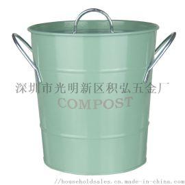 西式 家用 鐵製 化肥桶 廚餘收集桶 配內桶和鏟子