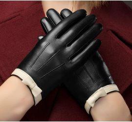 BOOUNI 真皮手套女士触屏绵羊皮手套加绒短款白蝴蝶结保暖皮手套