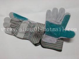 绿灰红加托胶袖工作手套