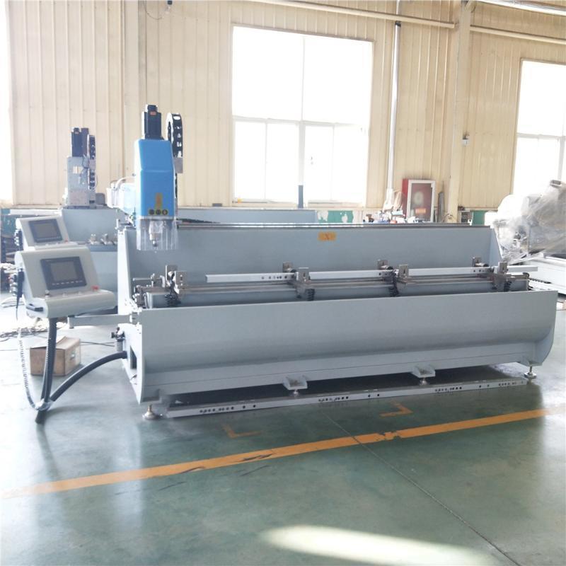 鋁型材數控銑牀鋁門窗鑽銑設備一次鑽銑三面加工