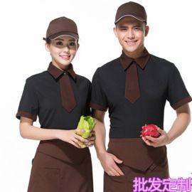 夏季短袖餐饮韩式酒店工作服西餐咖啡厅饭店服务生酒吧制服定logo
