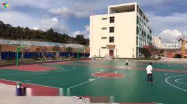 张家界学校健身球场现场施工预算 永定新农村小区篮球场地面建设承包厂家