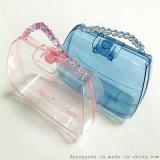 透明手提盒饰品盒化妆品盒彩妆盒香水盒手提包包盒珠珠手提透明盒