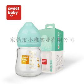 厂家直销150ml宽口高硼硅玻璃婴儿奶瓶新生儿奶瓶